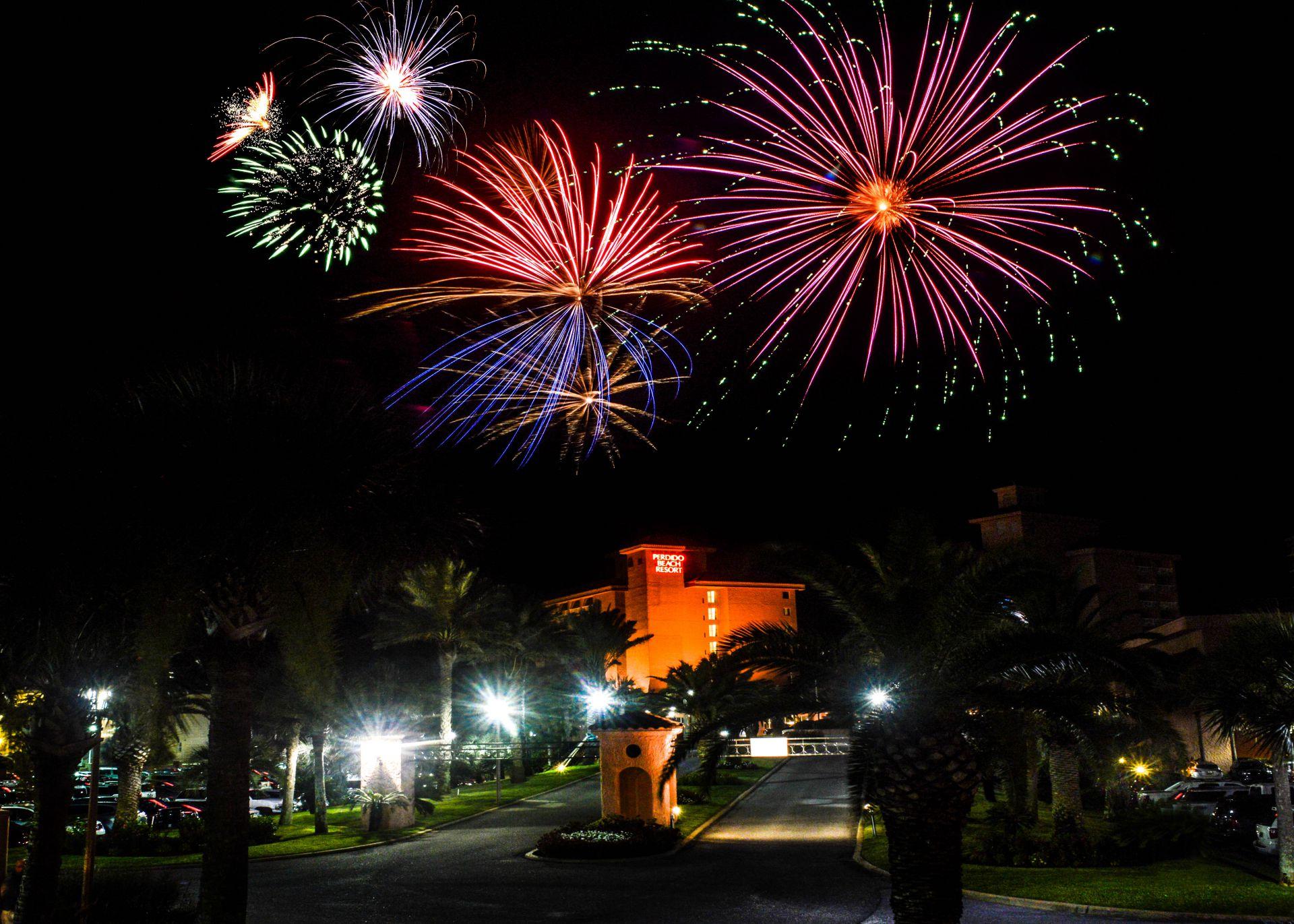 Fireworks nighttime display over Perdido Beach Resort