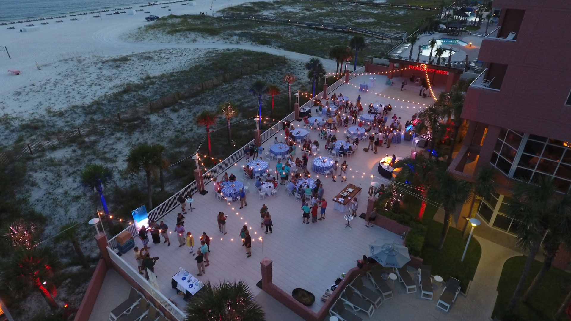 evening party at Paradise Beach Deck
