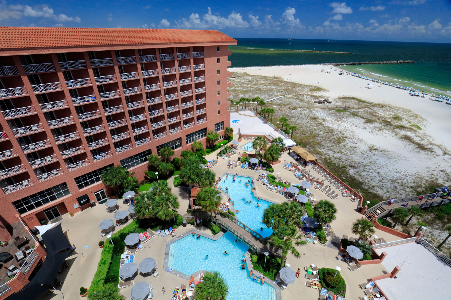 aerial view of perdido beach resort, pool and ocean