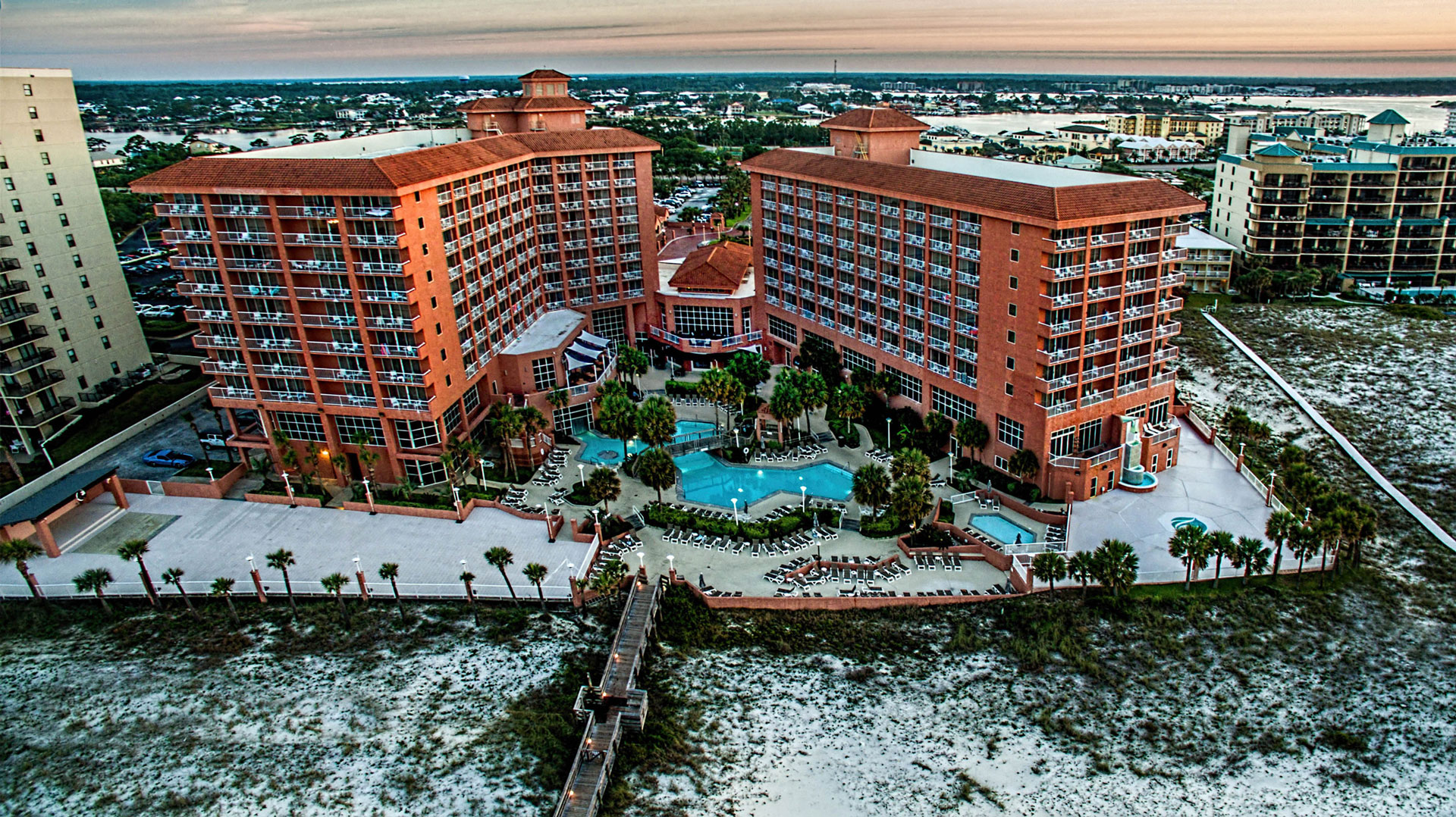 perdido beach resort from above