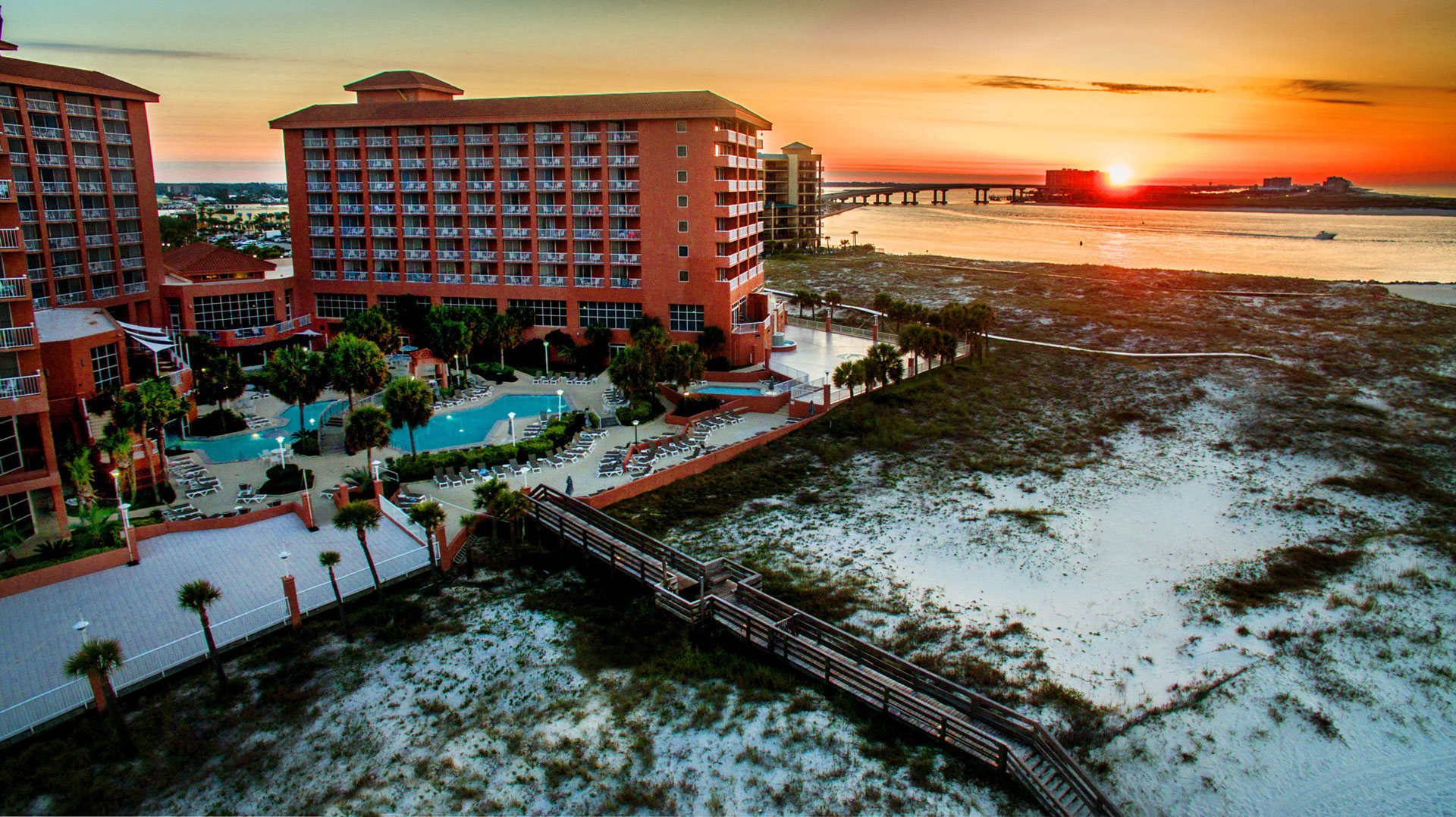 sun rising beside Perdido beach resort