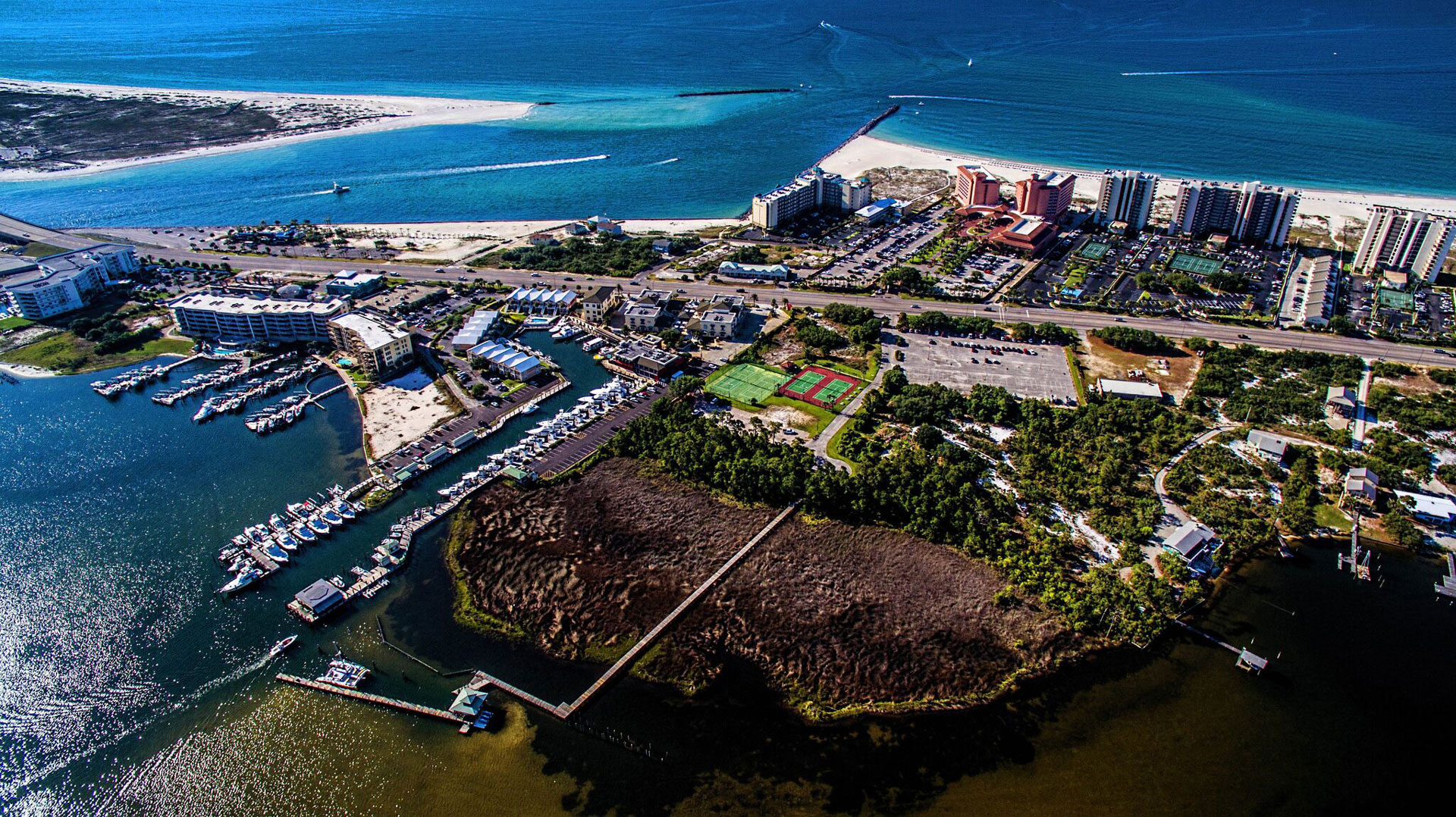 aerial view of perdido beach resort and perdido pass area