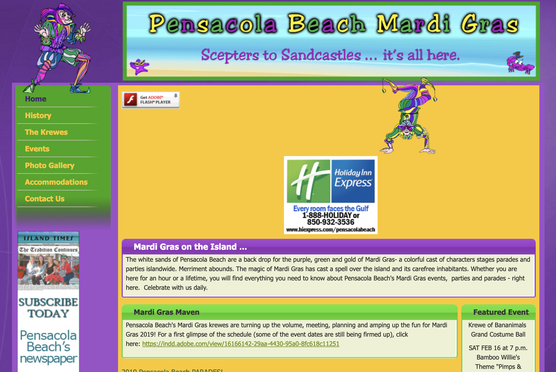 Pensacola Beach Mardi Gras website screenshot
