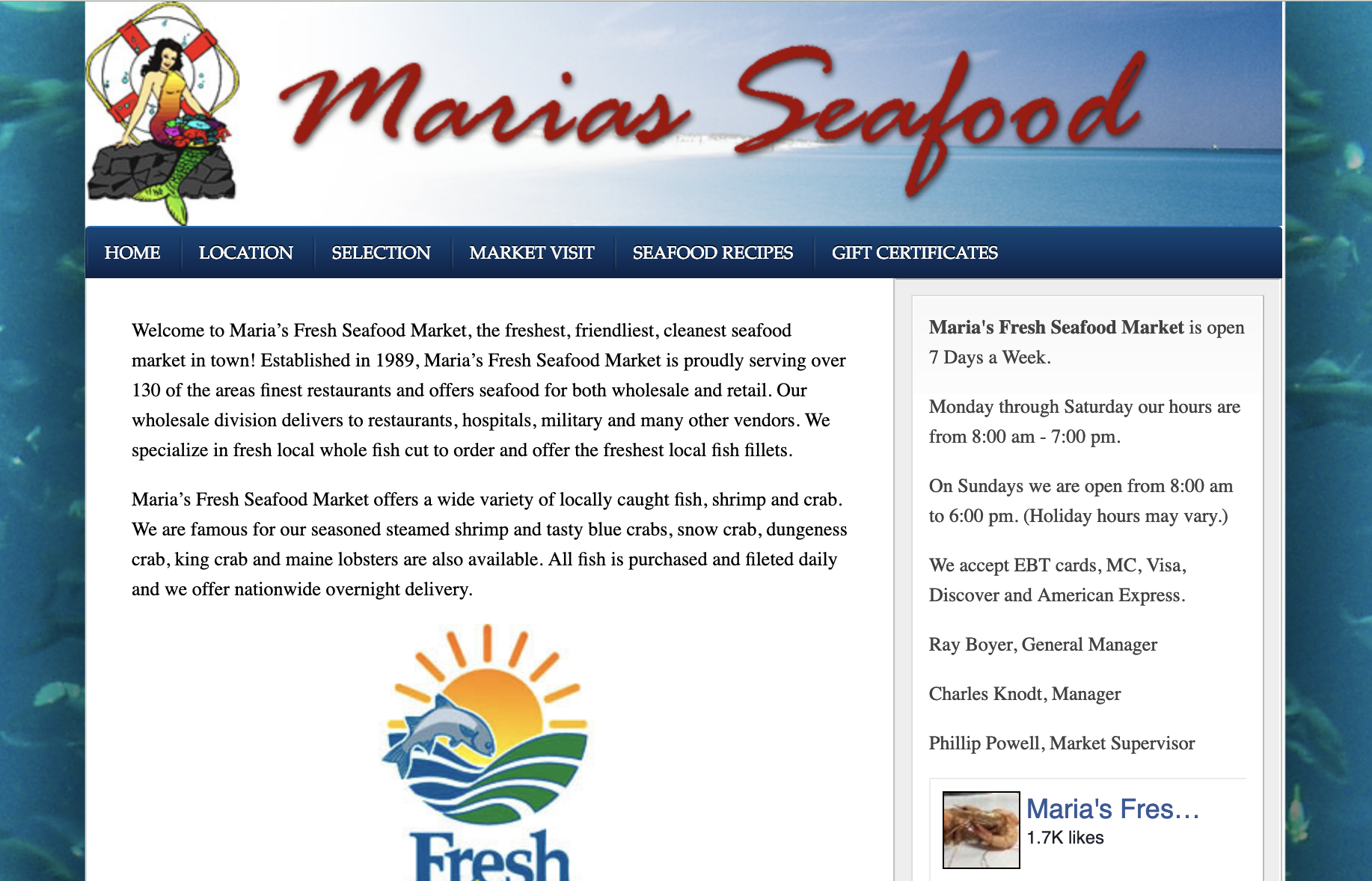 Maria's Seafood website screenshot