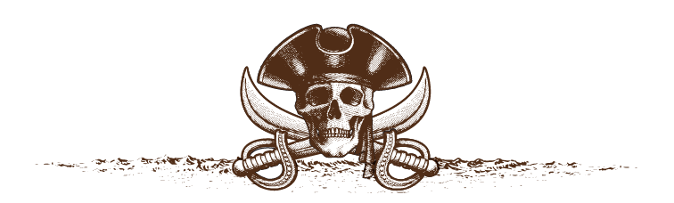 pirate skull in hat with swords crossed behind
