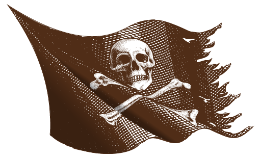 sketch of tattered pirate flag