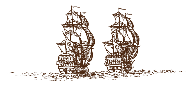 sketch of two pirate ships with sails in full use