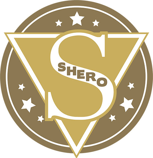 image of bronze colored SHERO logo