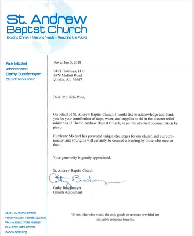 Hurricane Michael - A thank you from St. Andrew Baptist Church