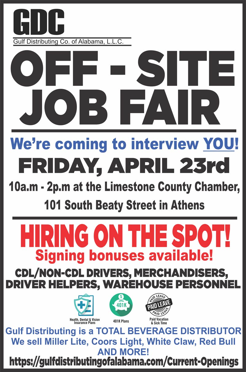 Off-site job fair, Friday April 23rd, 10am-2pm, at the Limestone County Chamber - 101 South Beaty Street in Athens,CDL/Non-CDL Drivers, Merchandisers, Driver helpers, Warehouse Personnel