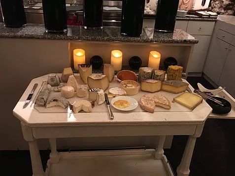 candle-lit tray of food