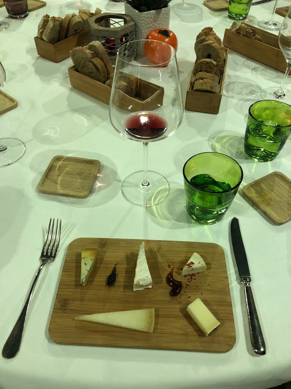 Cheese plate with wine tasting