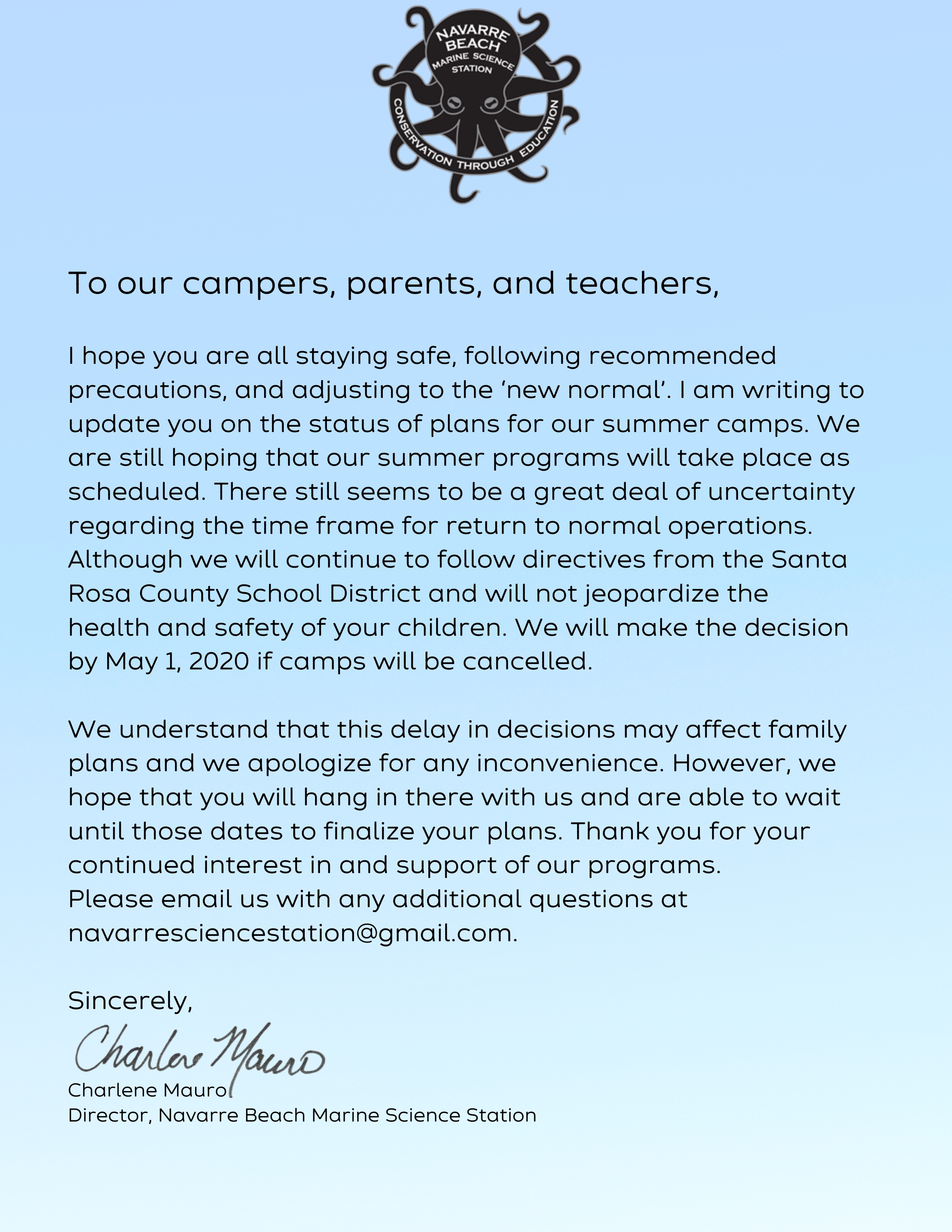 Letter regarding summer camp