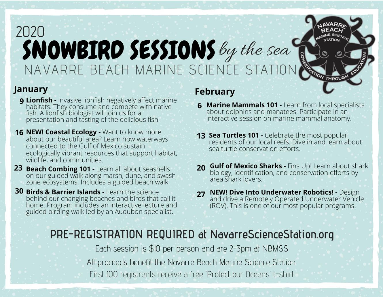 Snowbird Sessions 2020 schedule flyer