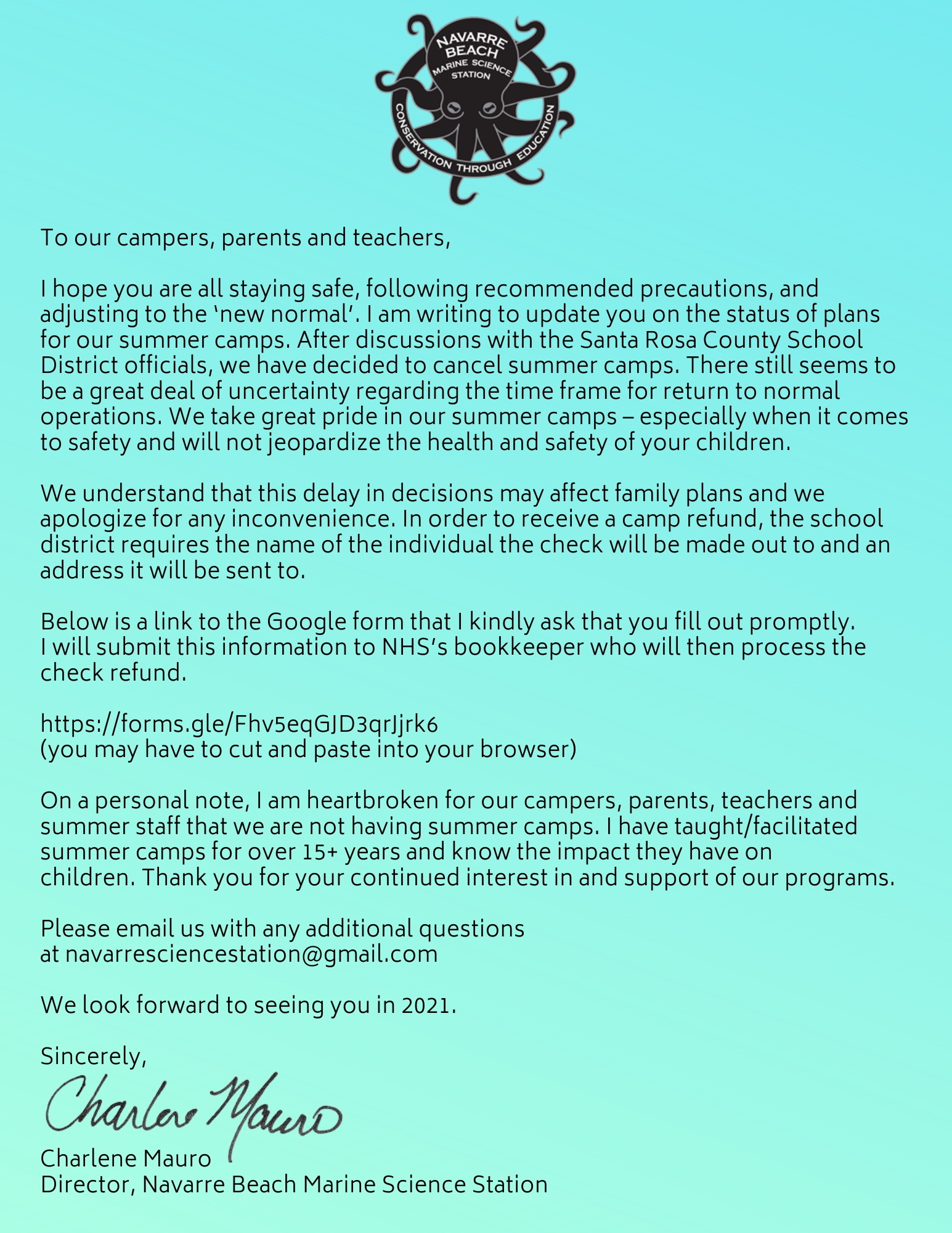 Letter regarding summer camps 2020