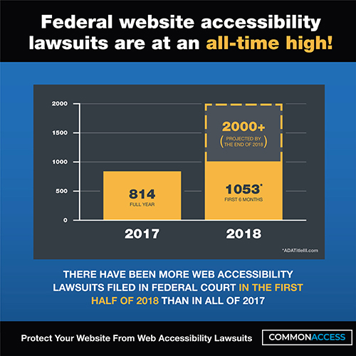 Graph showing 814 lawsuits for the year 2017 and 1053 lawsuits for first 6 months of 2018. Heading states that Federal website accessibility lawsuits are at an all-time high!