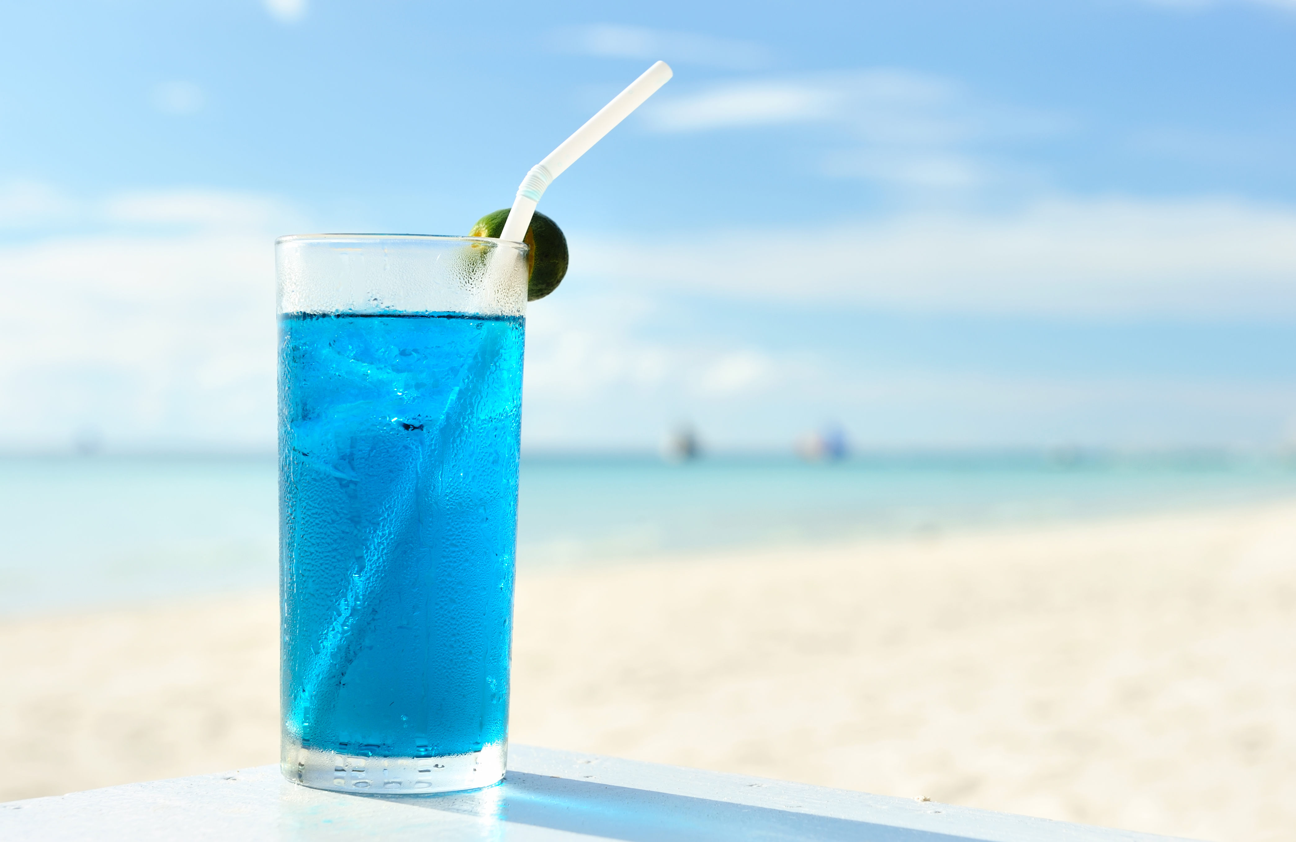 Close Up of a Blue Tropical Drink on the shores of Siesta Key Beach