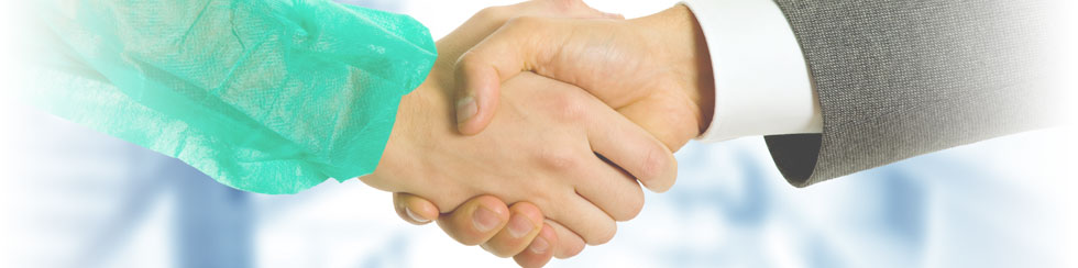 physicians hand shake consulting banner