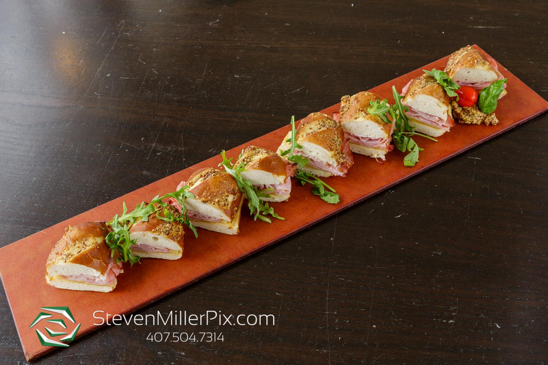 Pretzel Rolls topped with Ham, Swiss, & Honey Dijon