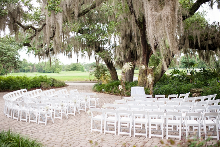 ceremony seating set up under tree