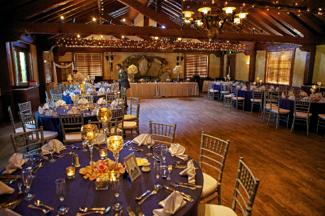 ballroom blue and silver decorations