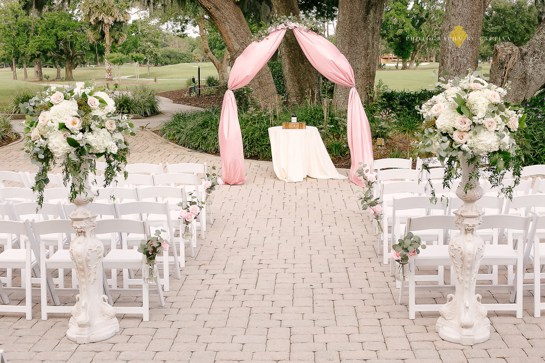ceremony seating in front of tree