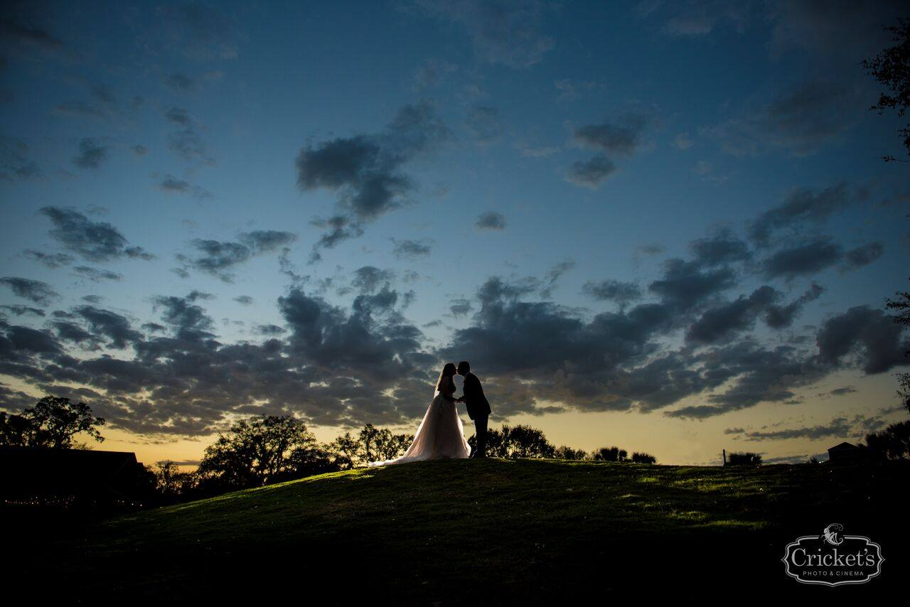 bride and groom kissing silhouette at dusk