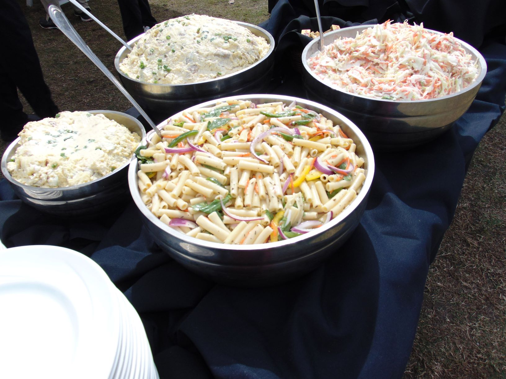 pasta salad, chicken salad, potato salad, crab salad buffet