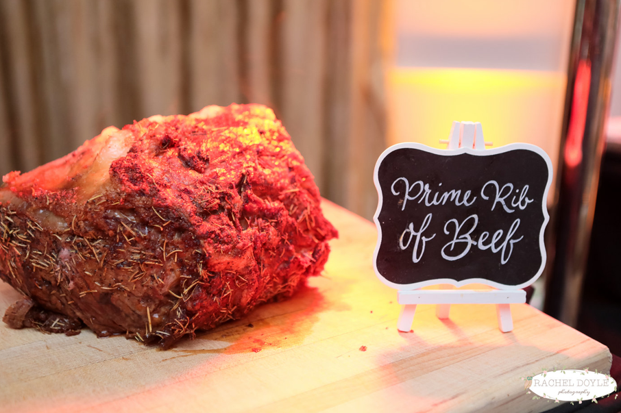 prime rib of beef on a tray