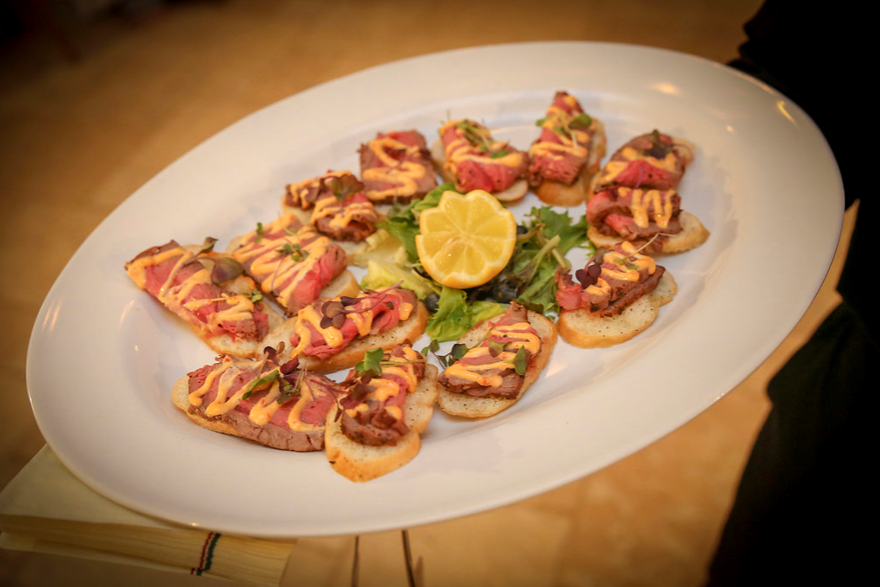 steak appetizer on crostini