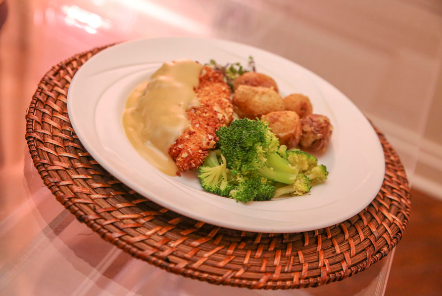 crispy chicken, broccoli, and potatoes