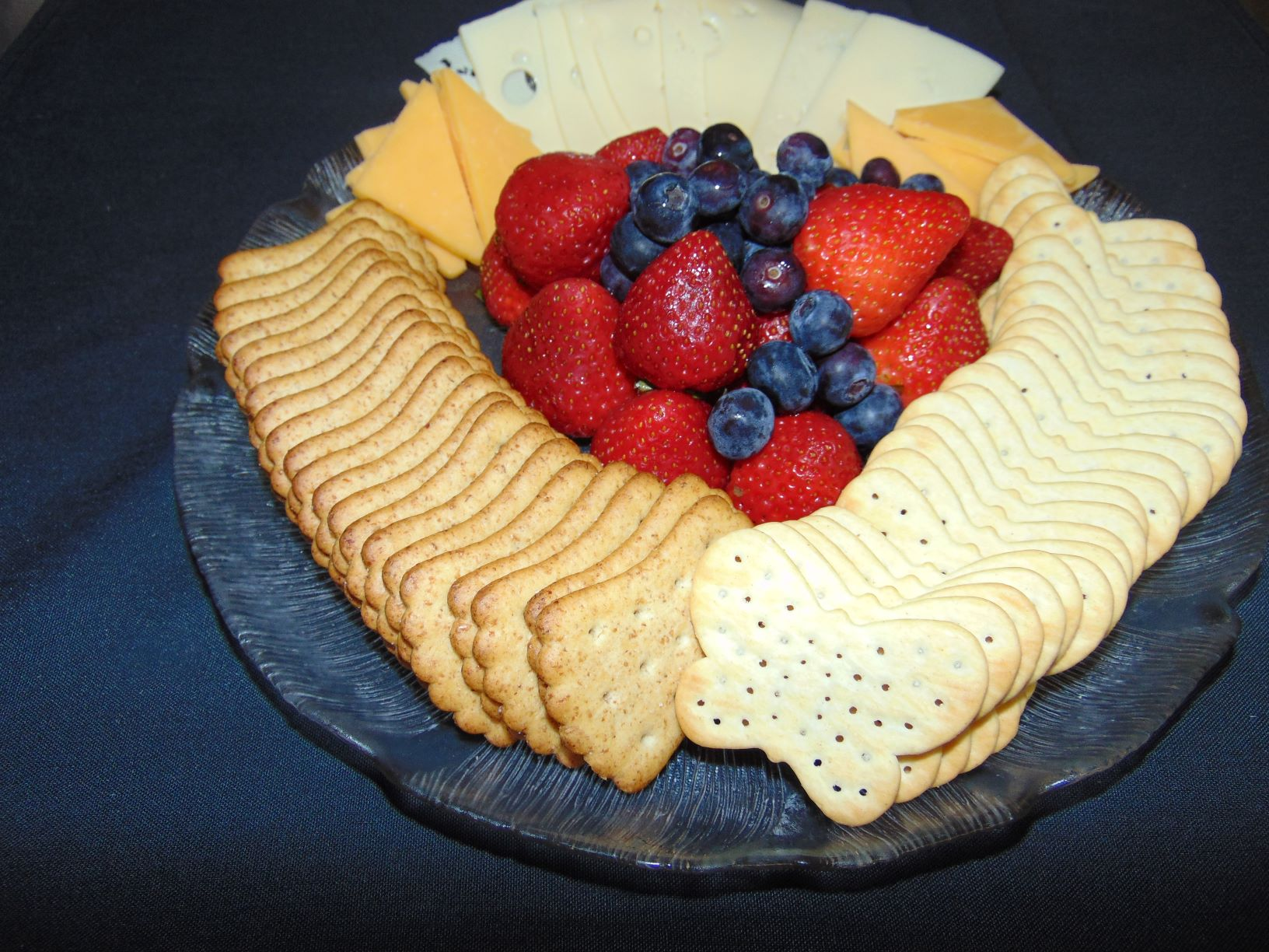 cheese, crackers, fruit