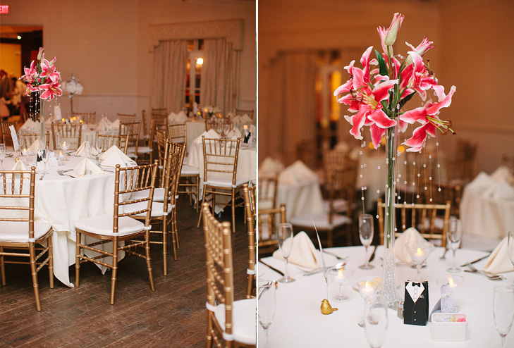 white and gold wedding reception dining
