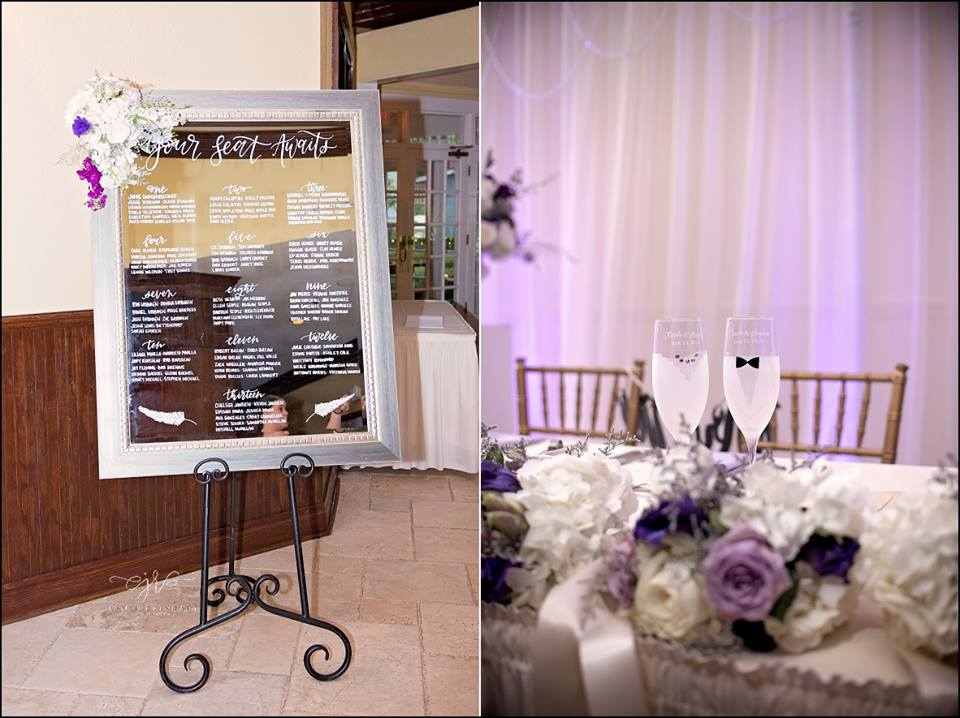 seating chart and bride/groom champagne glasses
