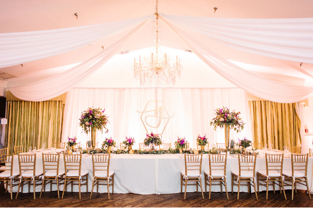 seating and decor at the bride and grooms table