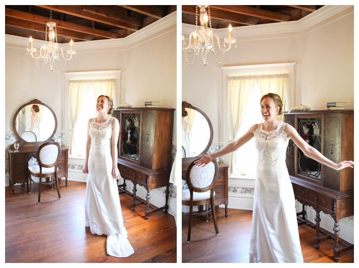 side by side bride in bridal suite