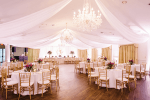 decorated indoor wedding reception
