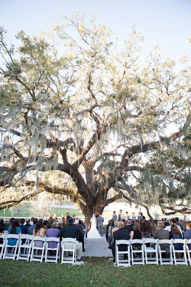 the outdoor wedding ceremony venue at highland manor