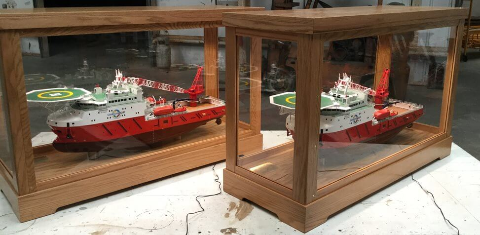 Canega Offshore Vessel in our Custom Built Lighted Cabinet