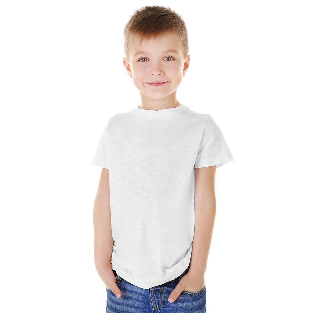 little boy wearing a white tshirt