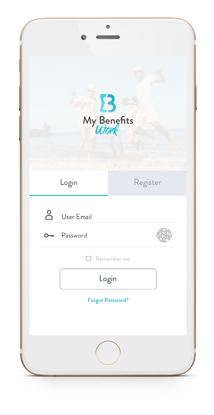 app login screen on mobile device