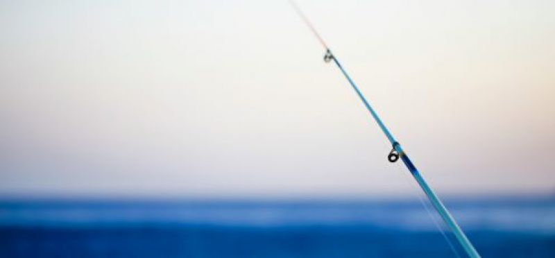 image of a fishing pole at sunset