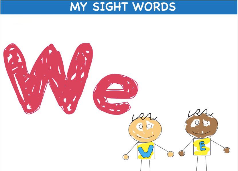 SCI sight words flashcard