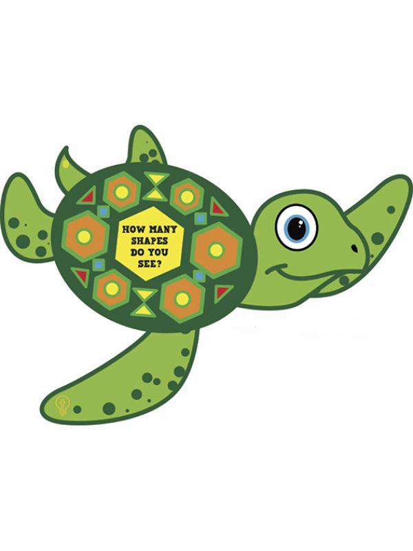 Artwork of a sea turtle with multiple shapes on its shell