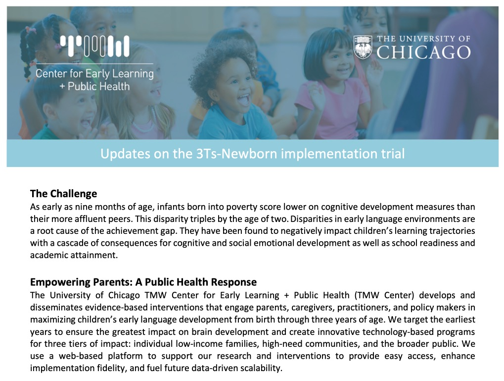 Updates on the 3Ts-Newborn implementation trial