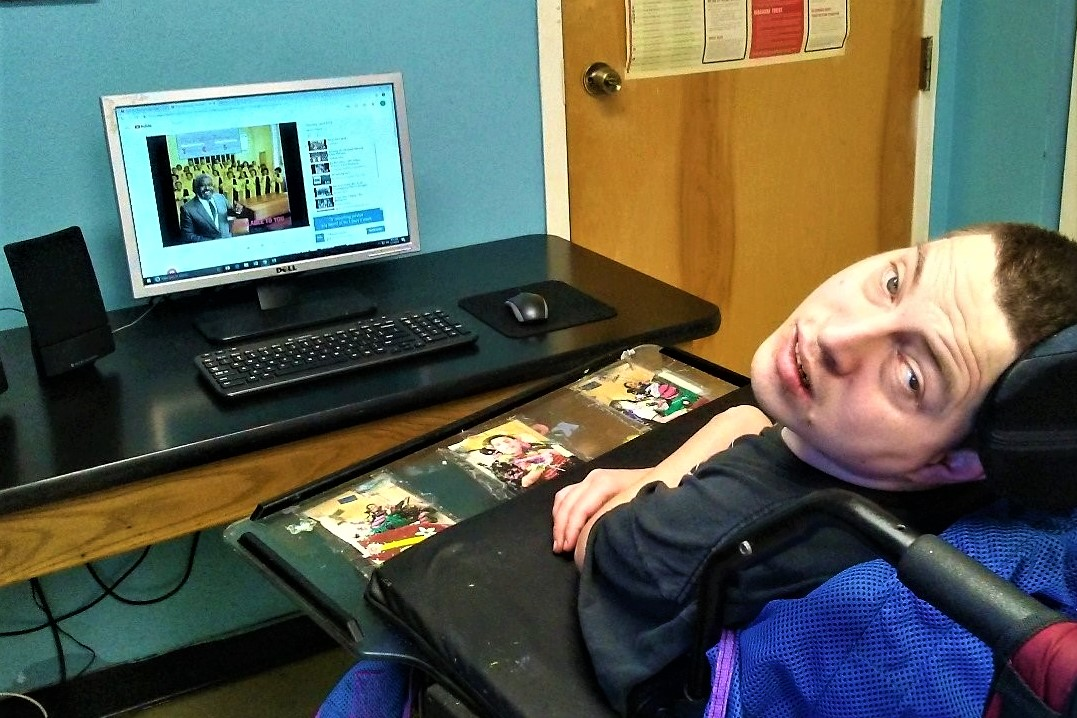 Care member using the computer