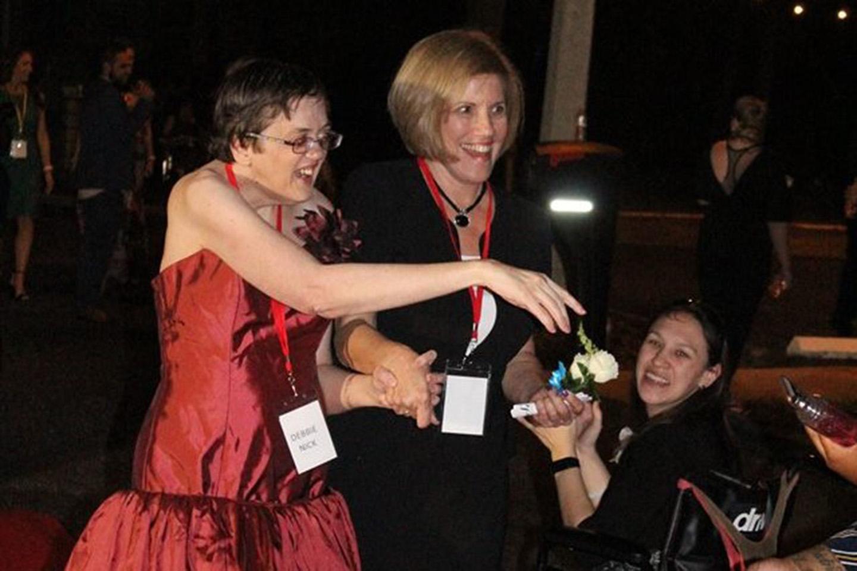 Care member celebrating