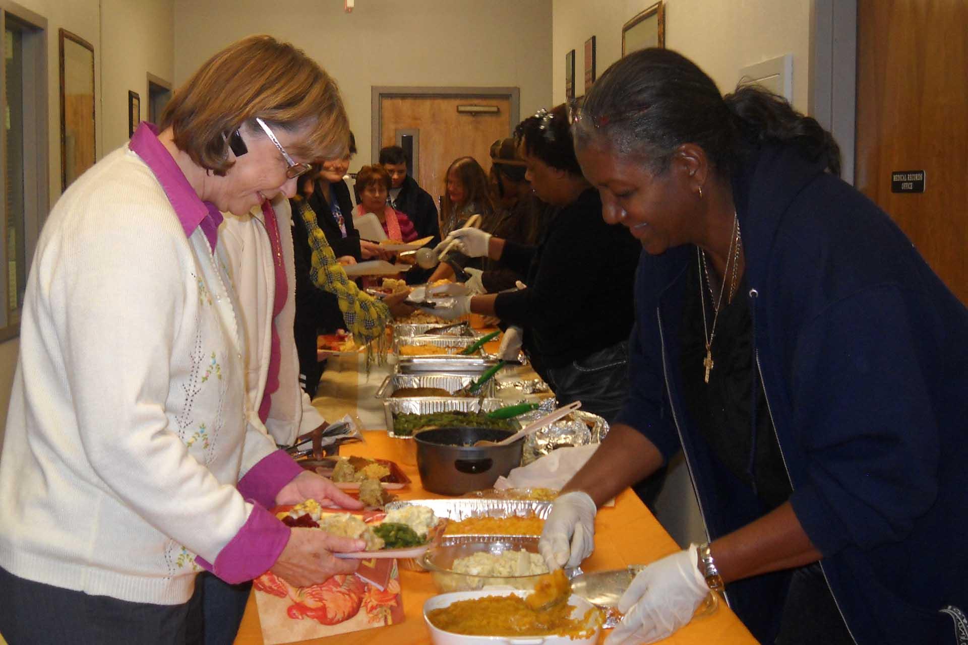 Care Members serving food