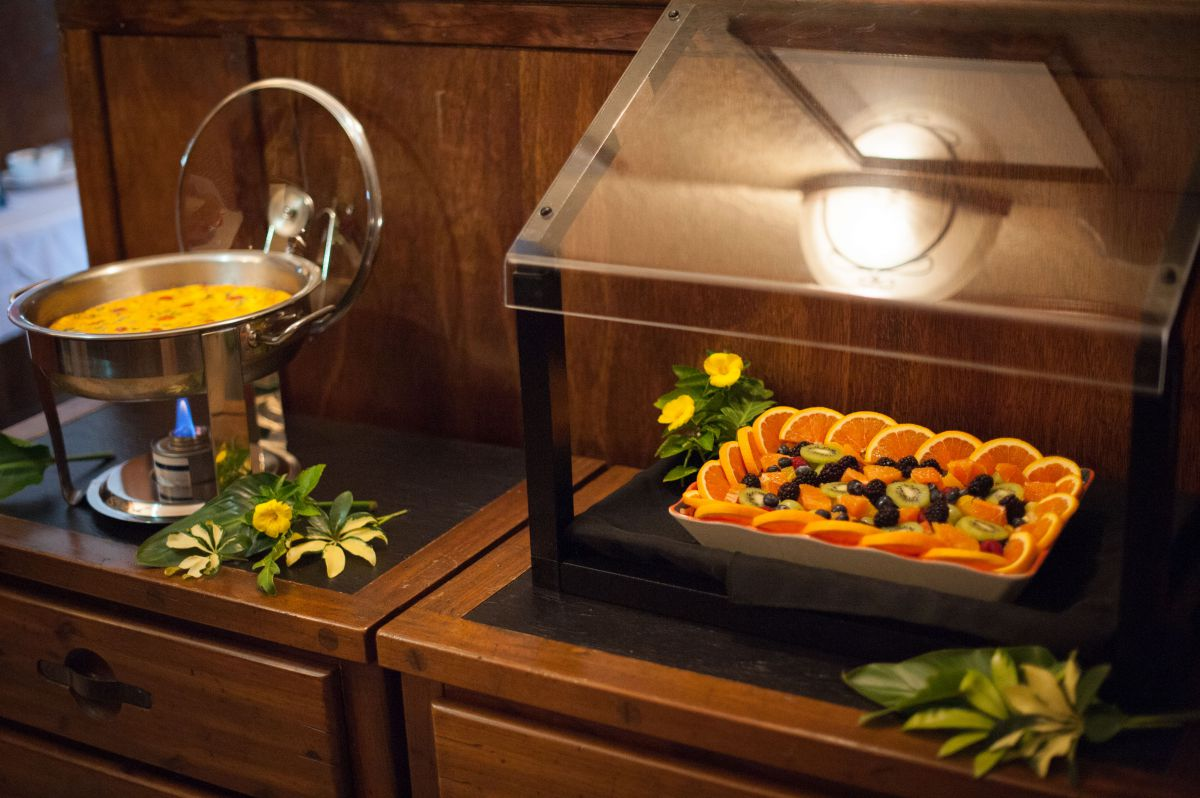 Breakfast buffet with Fruit Tray & quiche
