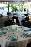 Wedding reception tables with turquoise napkins and silverware